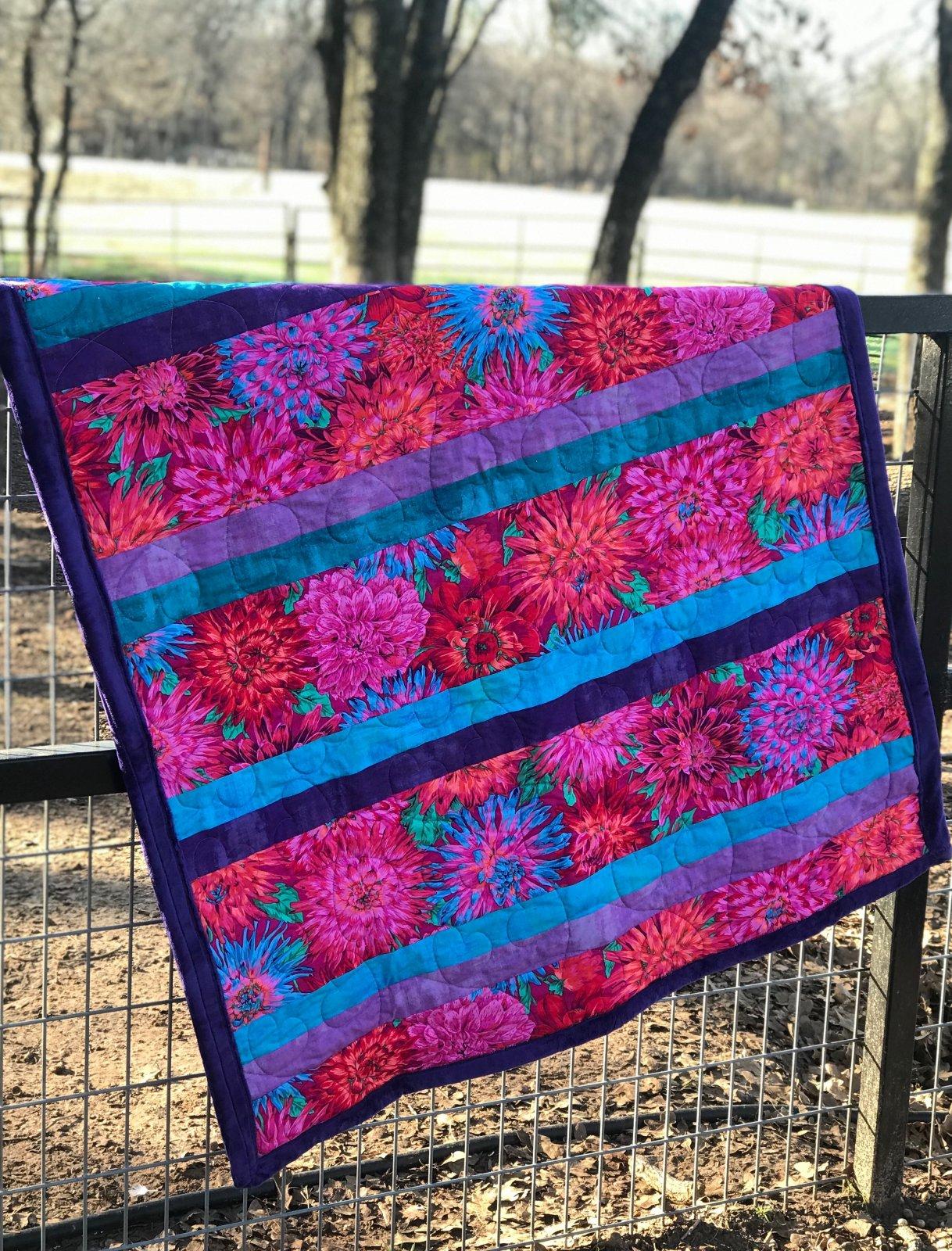 Simple Simon Quilt Kit, 42 x 48 size magenta, purple, teal,