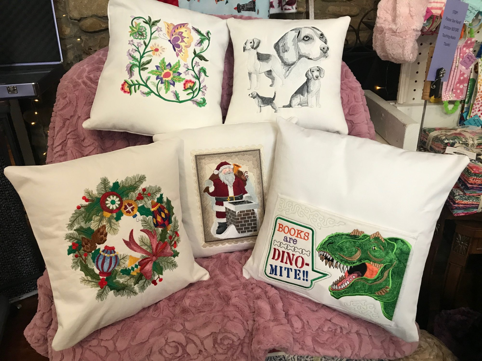 Embroidered Pillows by Eric