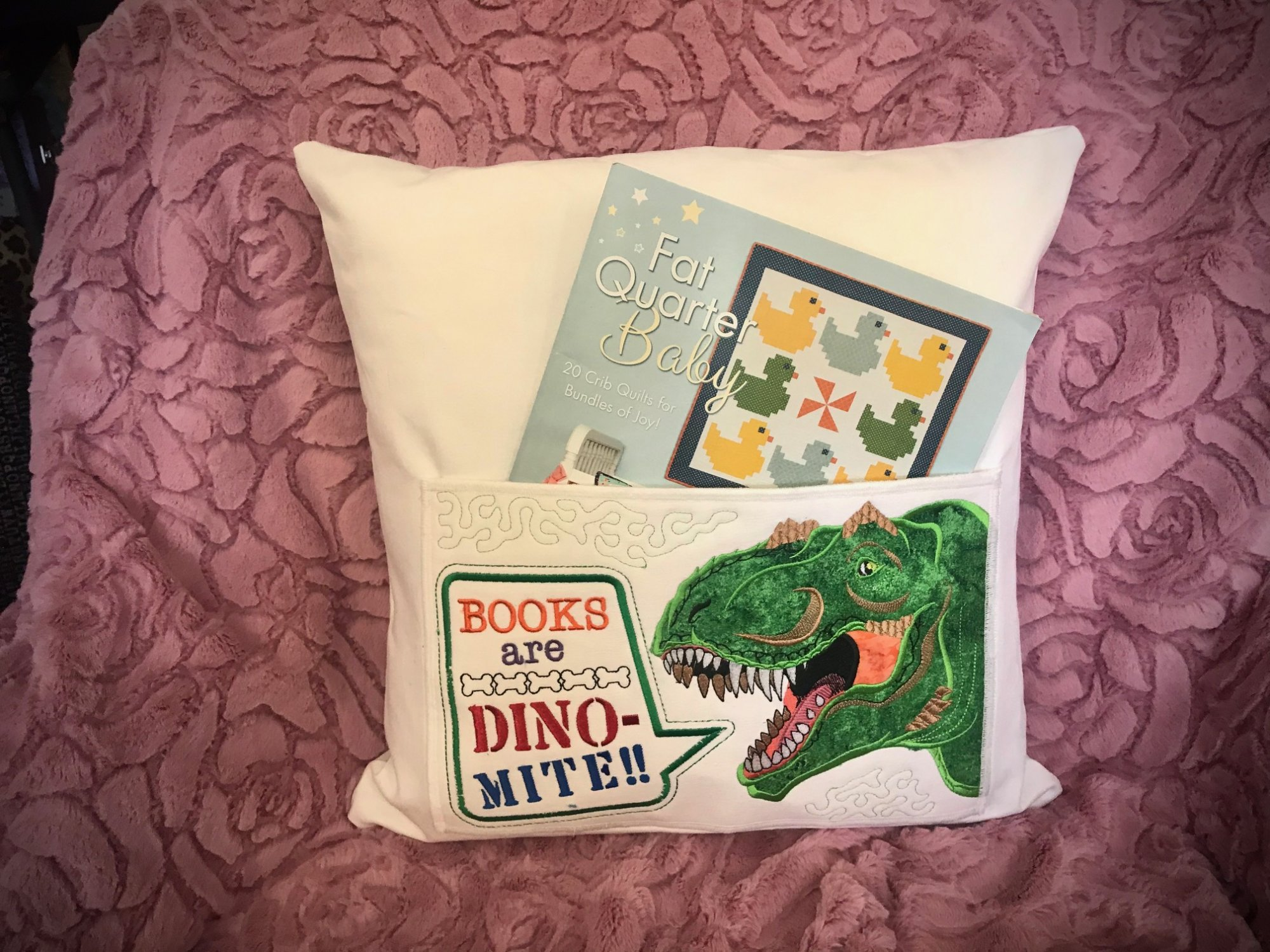 Reading Buddy  Dinosaur Embroidered Pillows by Eric