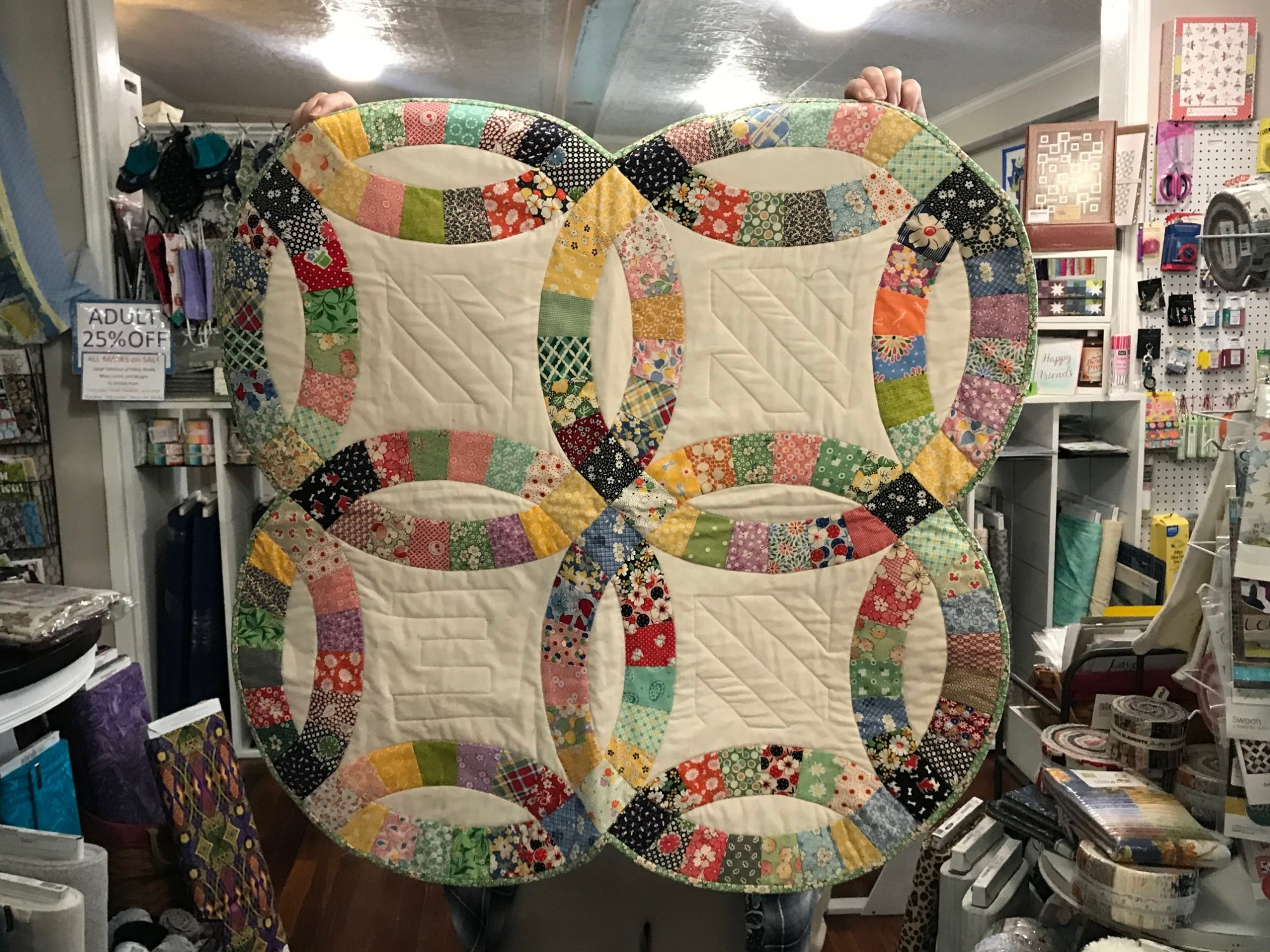 Double Wedding Ring Tabletop Quilt 28 x 28, Finished Quilt