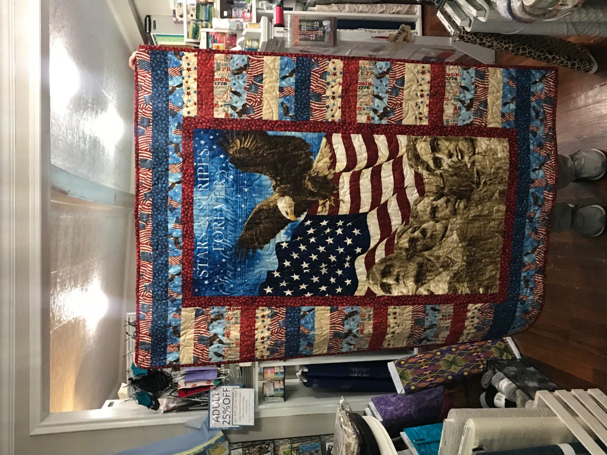 Patriotic Quilt 41 x 55.5 Finished Quilt
