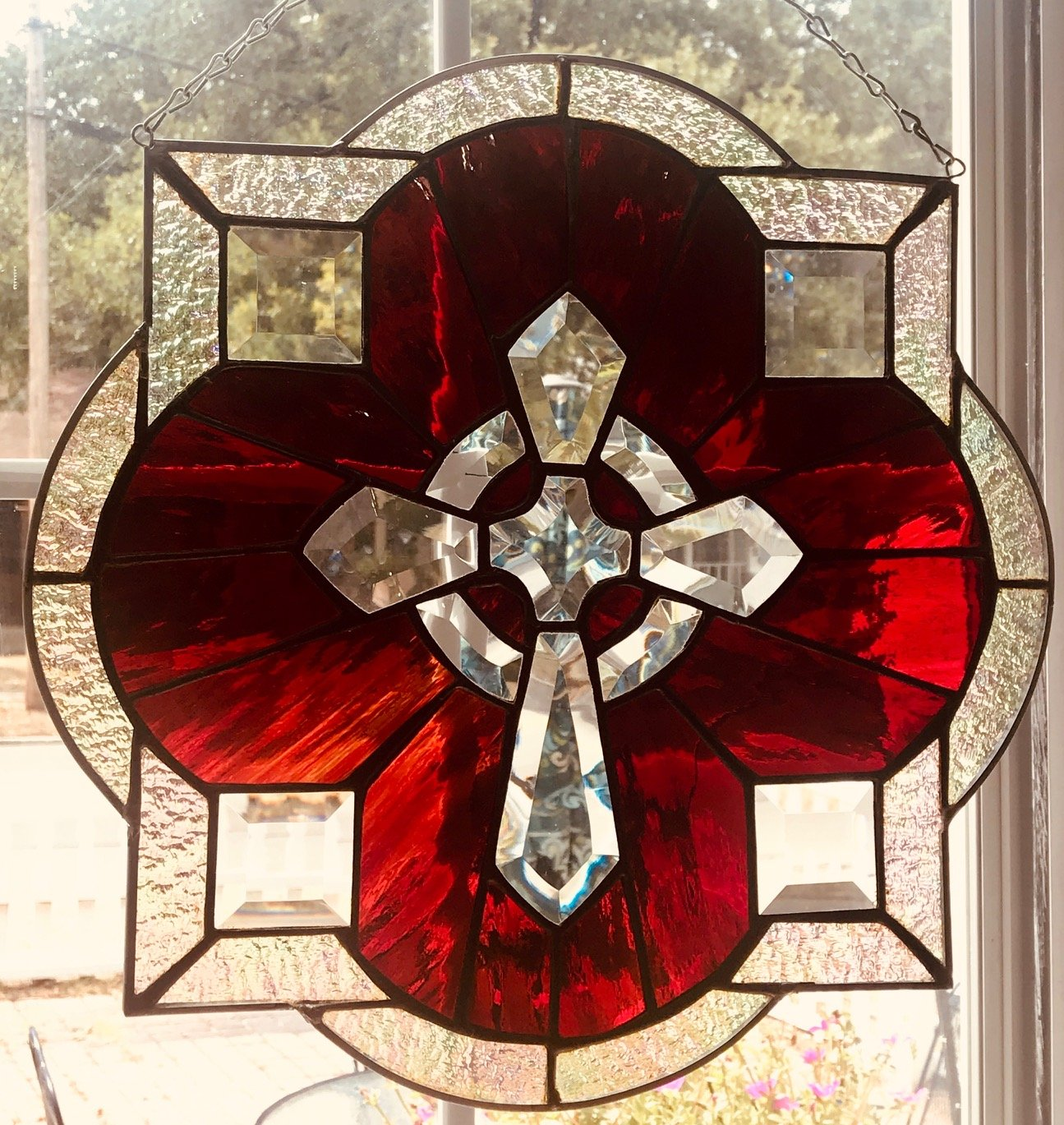 Stained Glass Red Cross