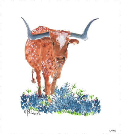 LH002 Longhorn and Bluebonnets ,  8 x 8