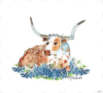 LH007 Bessie in the Bluebonnets Quilt block  8 x 8