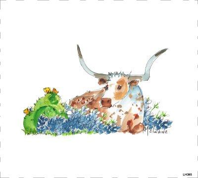 LH093 Longhorn & Cactus Quilt block  8 x 8    -