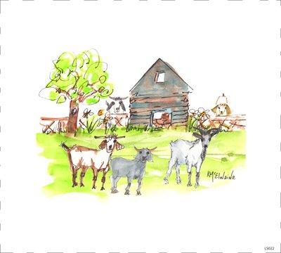 LS022  Quilt Block Goats at Barn 9 x 9