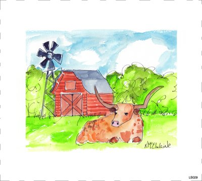 LS029 Longhorn & Red Barn Quilt block  8 x 8