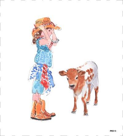PE013 Girl and Calf Texas Flag Quilt block 9 x 10