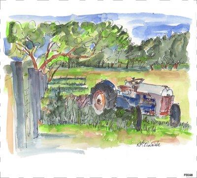 PE098 Blue Tractor Quilt block 9 x 10