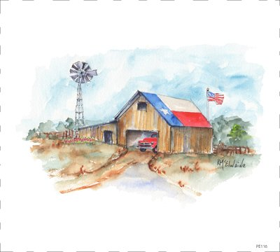 PE116 Barn with Truck and Flag Quilt block 9 x 10