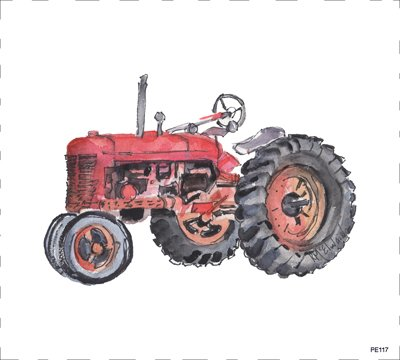 PE117 Red Tractor Quilt block 9 x 10