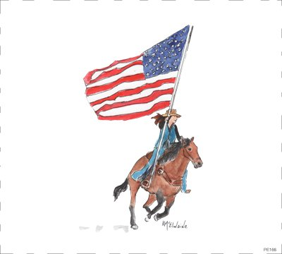 PE166 Cowgirl riding in with American Flag 8 x 8 Block, Horse
