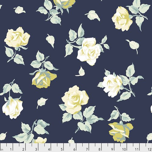 PWVN199.NAVY FALLING BLOOMS, yellow flowers on navy, floral