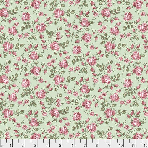 PWVM206.MOSS, pink roses on green background, flowers, floral