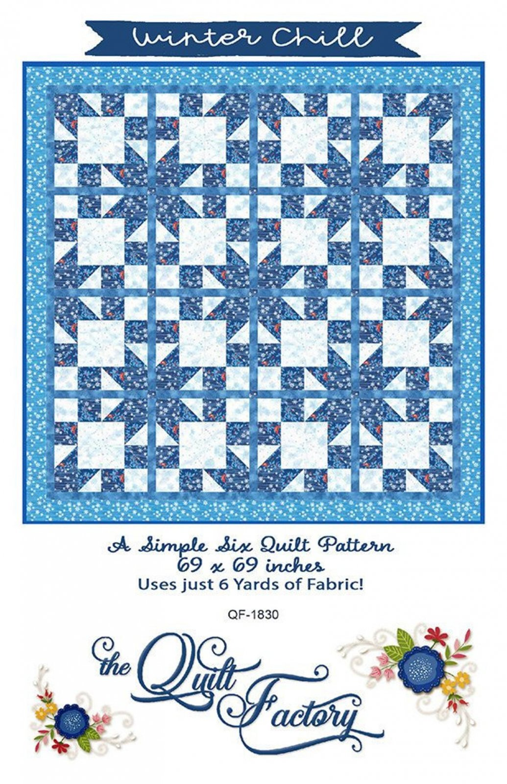 Winter Chill Kit with BACKING Fabric from Forest Frost Glitter, blue and white,