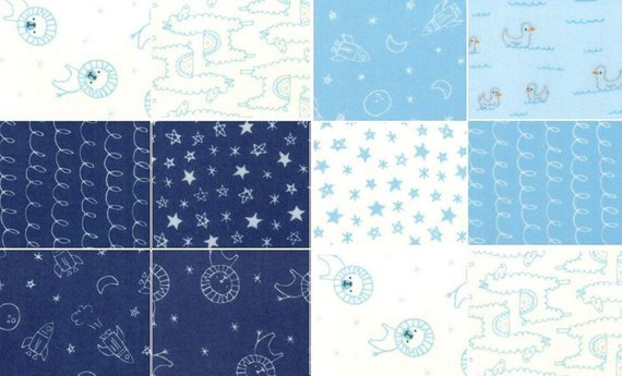 Soft & Sweet 10 1/2 Layer Cake Junior Layer Cake 20 10 Squares, Flannel, blue, navy, white