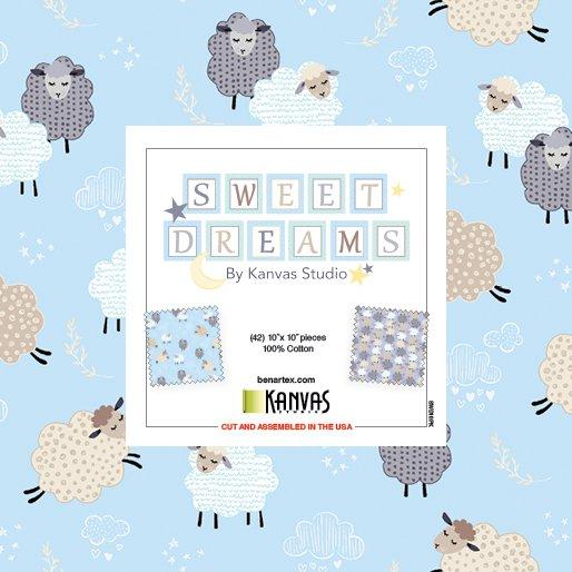 Sweet Dreams 42 10 Squares blue, grey, white