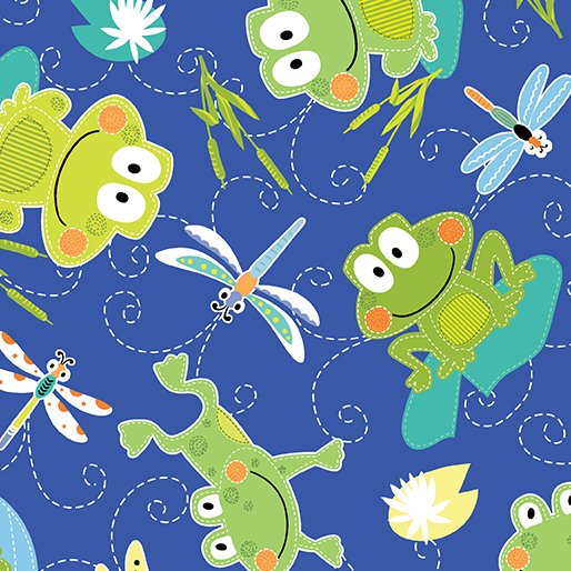 07937-55 Hop Along Frogs Blue, blue background with green frogs and dragonflies, animals