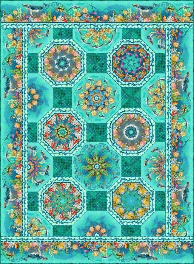 Aqua Calypso -One Fabric Kaleidoscope Quilt