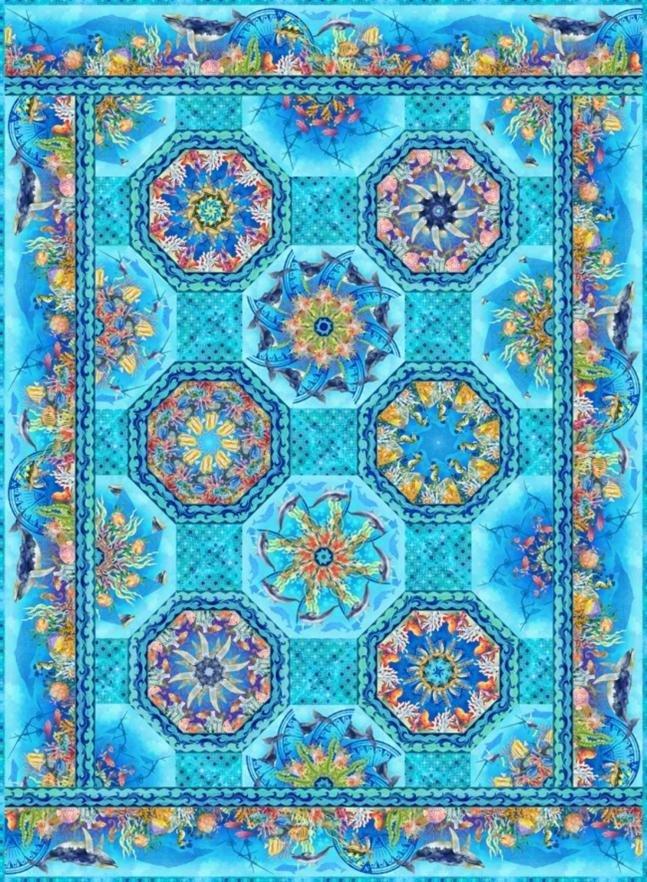 Blue Calypso -One Fabric Kaleidoscope Quilt