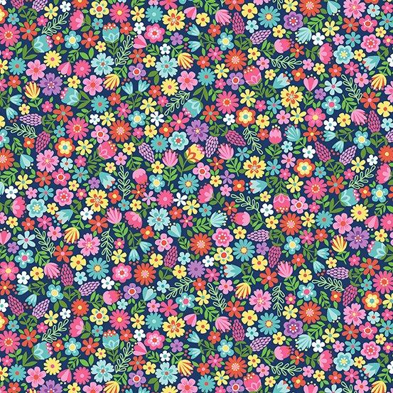 DayDream by Makower Flowers Navy