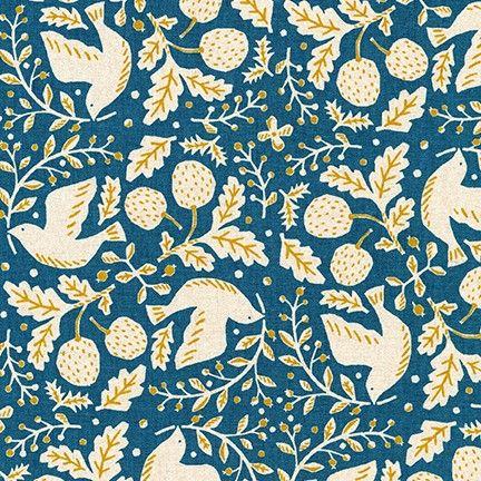 Robert Kaufman Cotton Flax Prints Teal