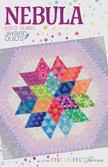 Nebula Block of the Month from Jaybird Quilts Featuring Tula Pink True Colors, Solids and Homemade. (Reservation only see description)
