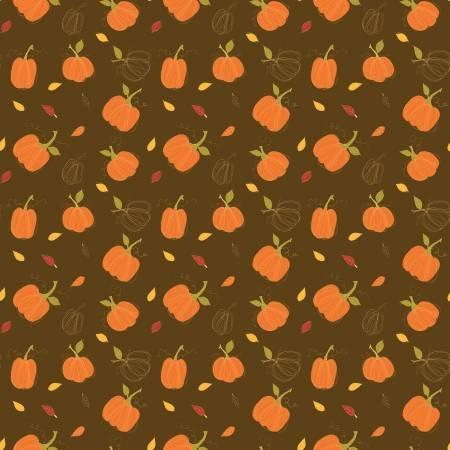 Adel in Autumn Pumpkins Chocolate Fat Quarter