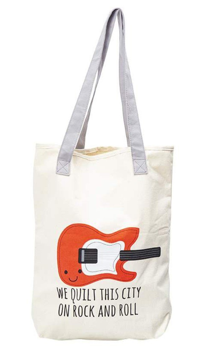 We Quilt this City Canvas Tote Bag 14.5in x 16in