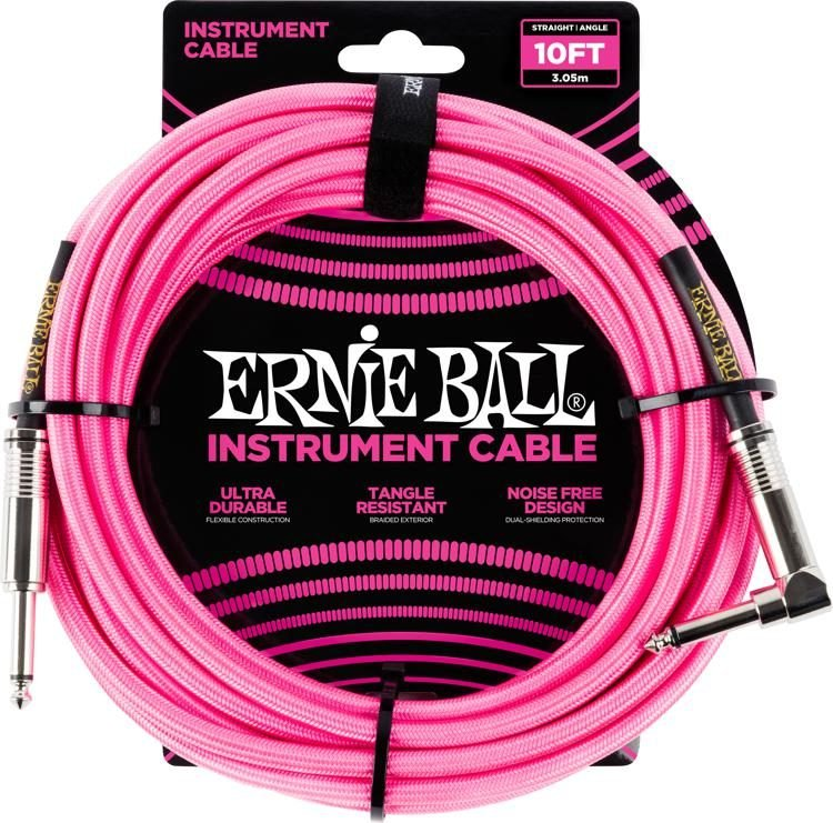 10ft. Braided Straight Angle Inst Cable -Neon Pink