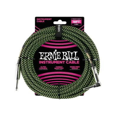 18ft. Braided Straight Angle Inst. Cable-Blk/Green