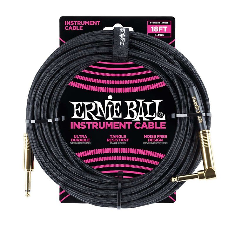 18ft Braided Straight Angle Inst Cable - Black