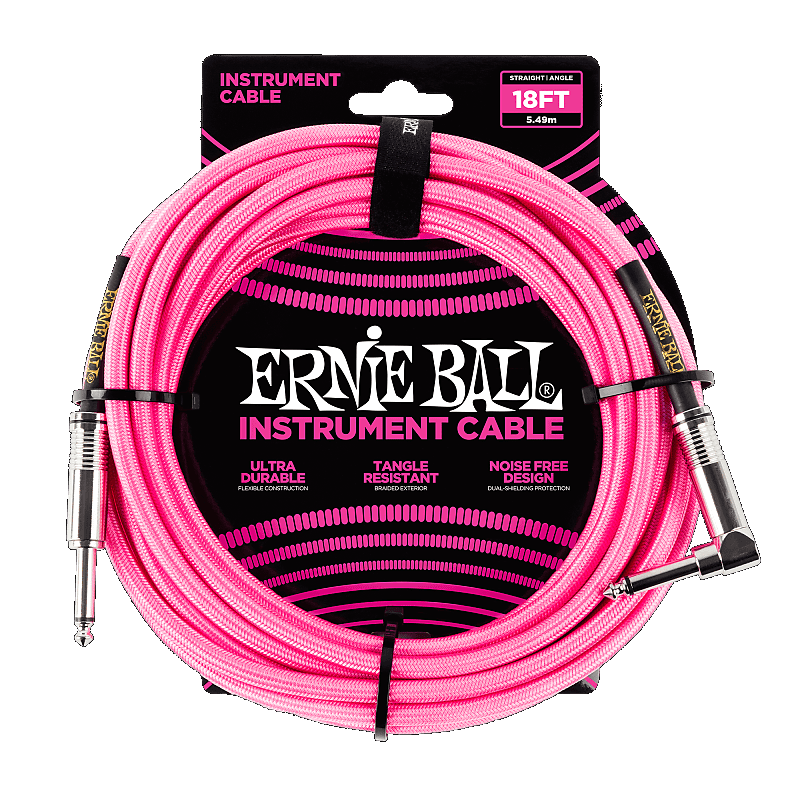 18ft Braidedd Straight Angle Inst Cable-Neon Pink