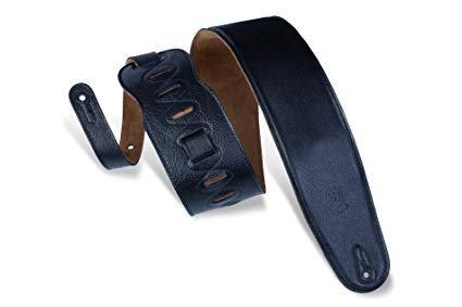 Wide Black Leather Guitar Strap