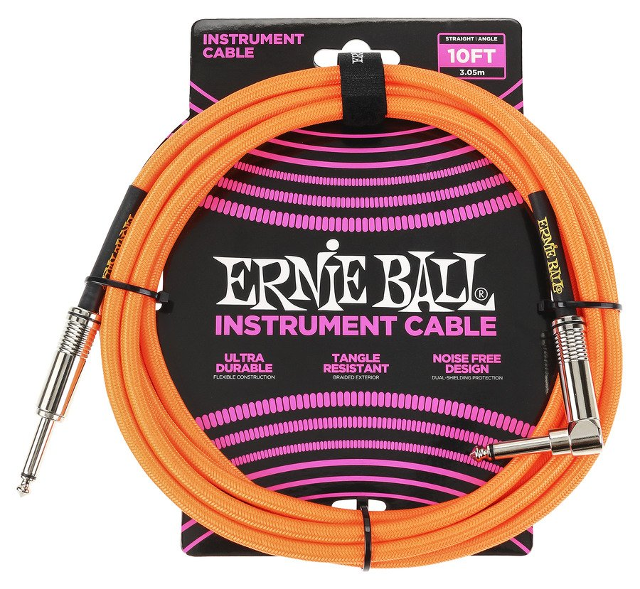 10Ft. Braided Straight Angle Inst Cable -Neon Orange