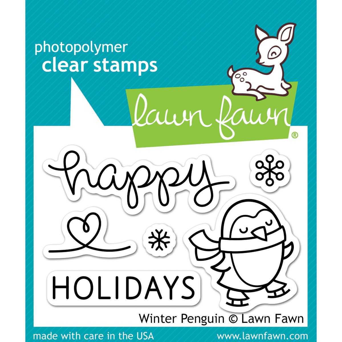 Lawn Fawn Clear Stamps and die set 3X2 Winter Penguin