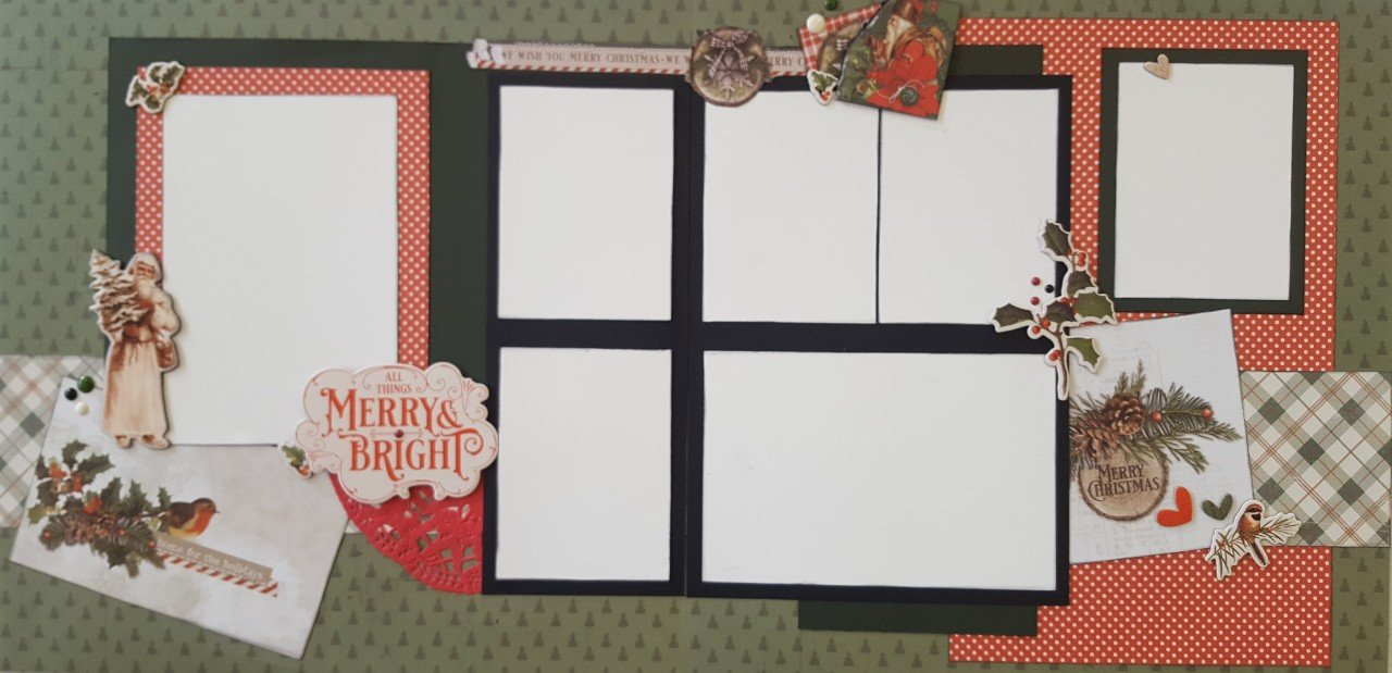 Simple Vintage Country Christmas 4 page layout by Deb