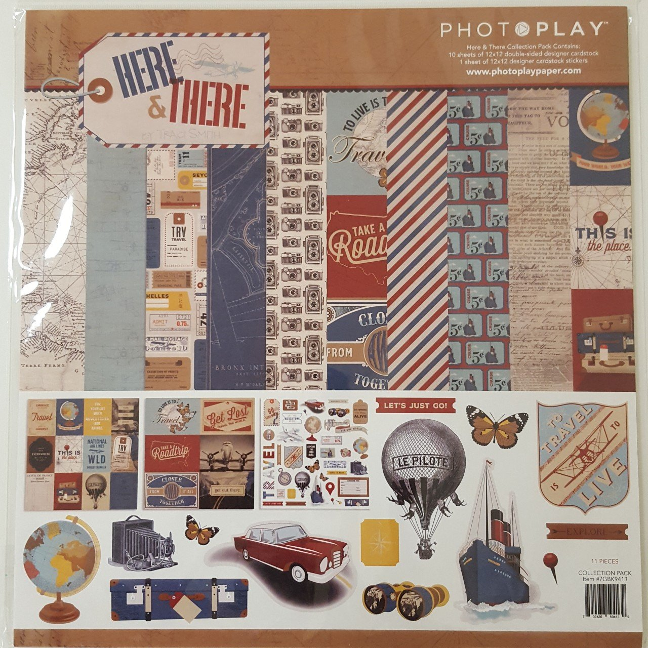 PhotoPlay Collection Pack 10 sheets 12X12-Here & There