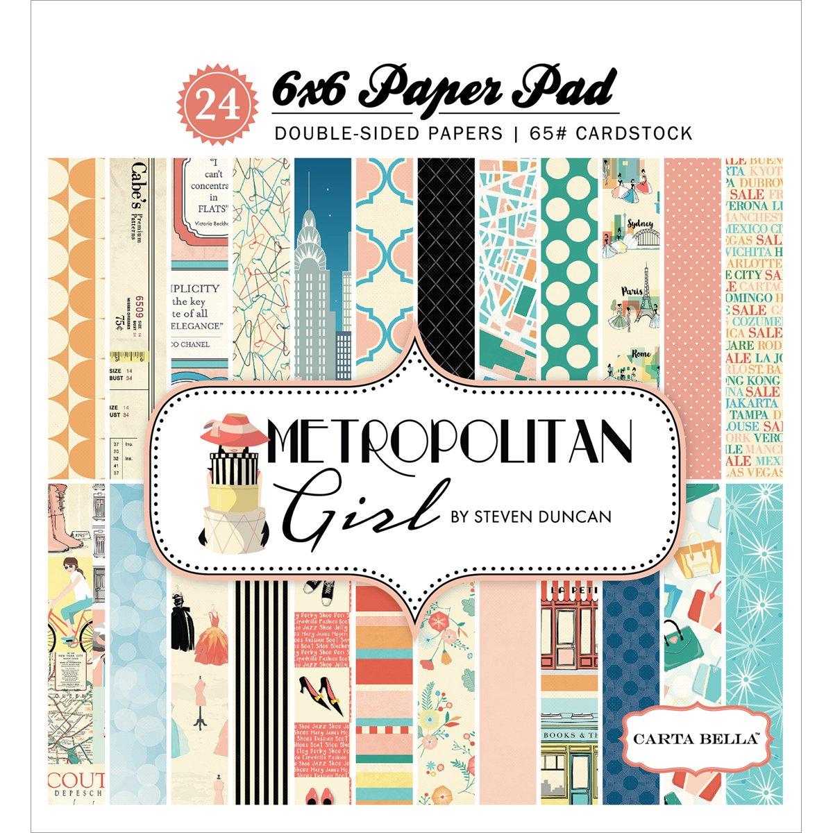 Carta Bella Double-Sided Paper Pad 6X6 24/Pkg Metropolitan Girl, 12 Designs/2 Each