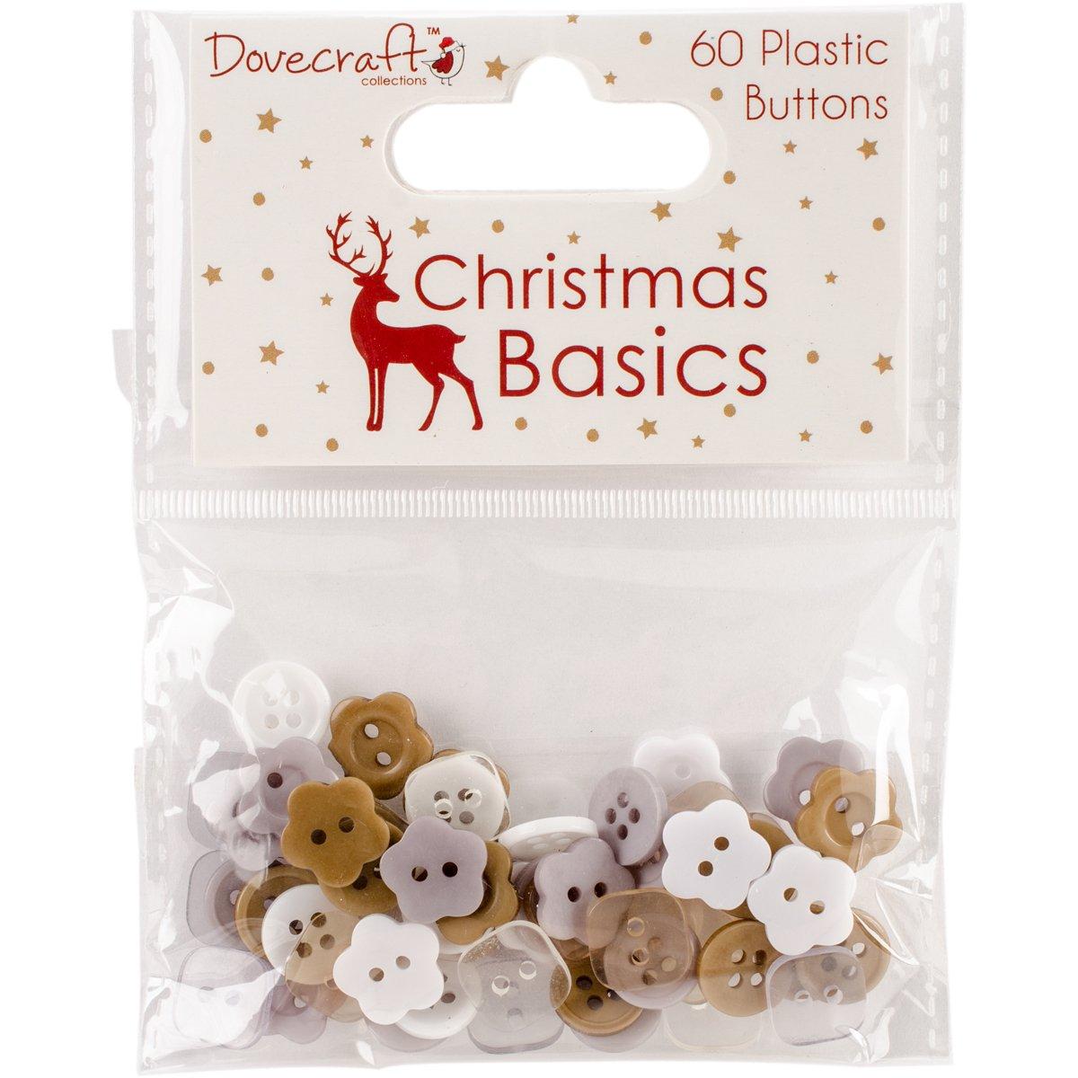 Dovecraft Christmas Basics Plastic Buttons 60/Pkg