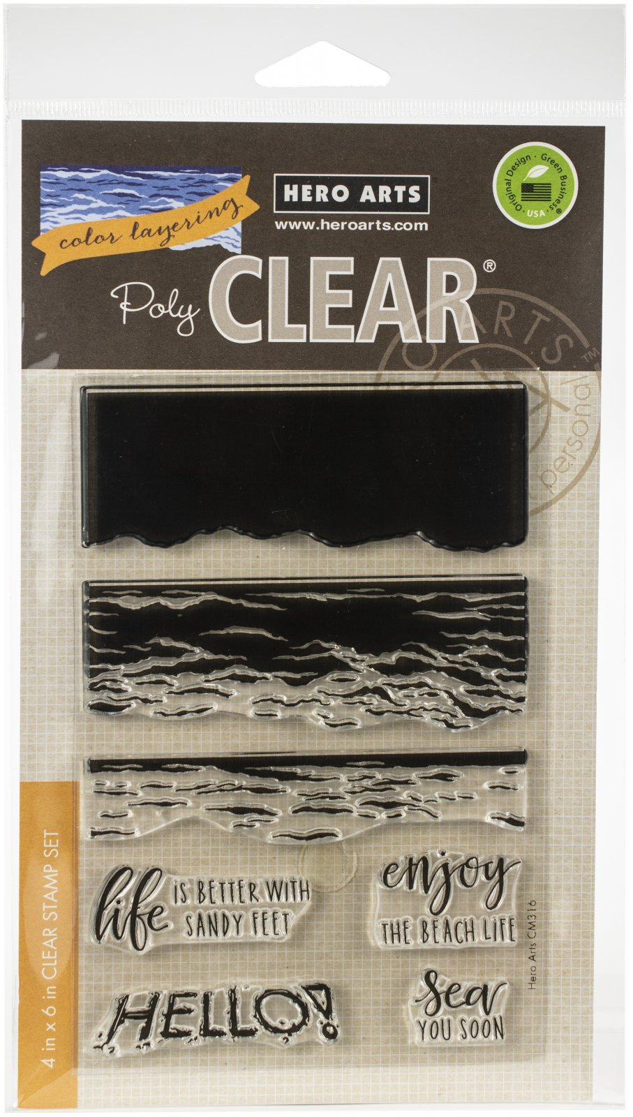 Hero Arts Color Layering Clear Stamps 4X6-Waves