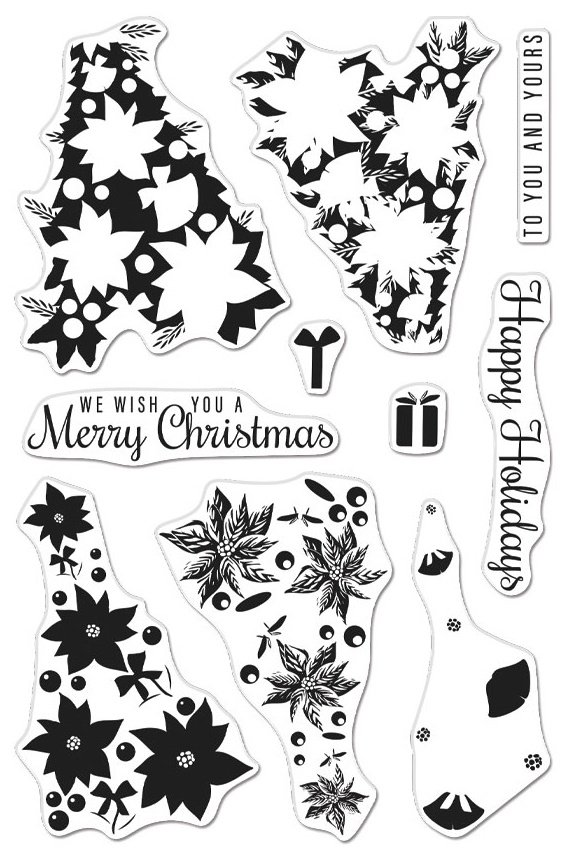 Hero Arts Color Layering Clear Stamps and die set 4X6 Poinsettia Christmas Tree