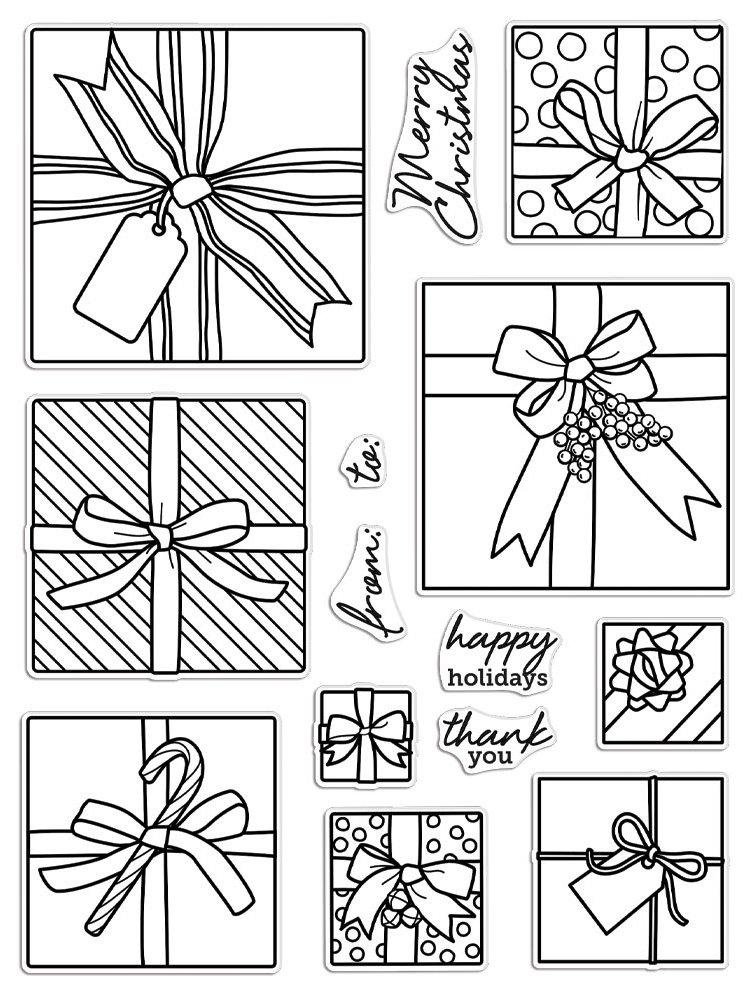 Hero Arts Clear Stamps 6X8 Gift Peek-A-Boo Infinity Parts