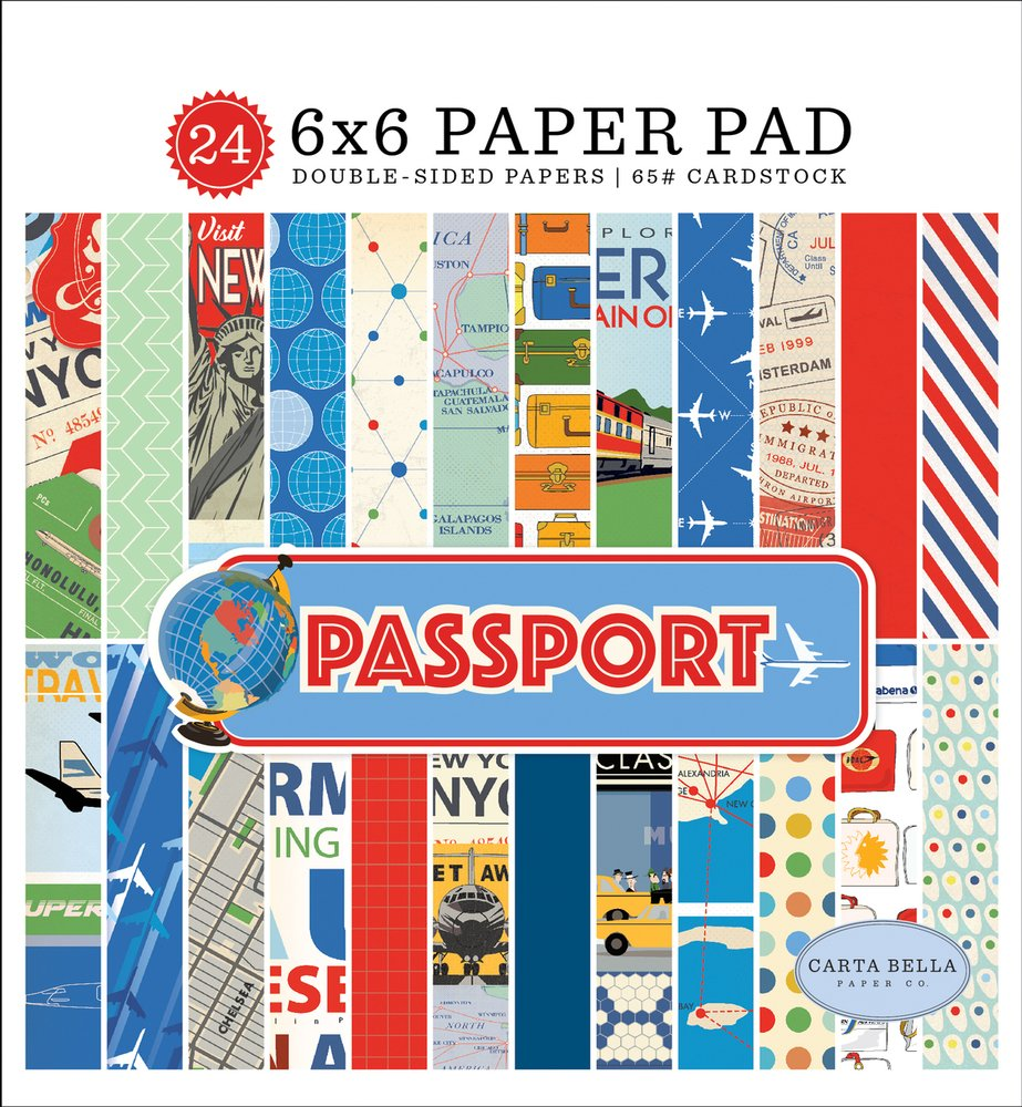 Carta Bella Double-Sided Paper Pad 6X6 24/Pkg-Passport, 12 Designs/2 Each