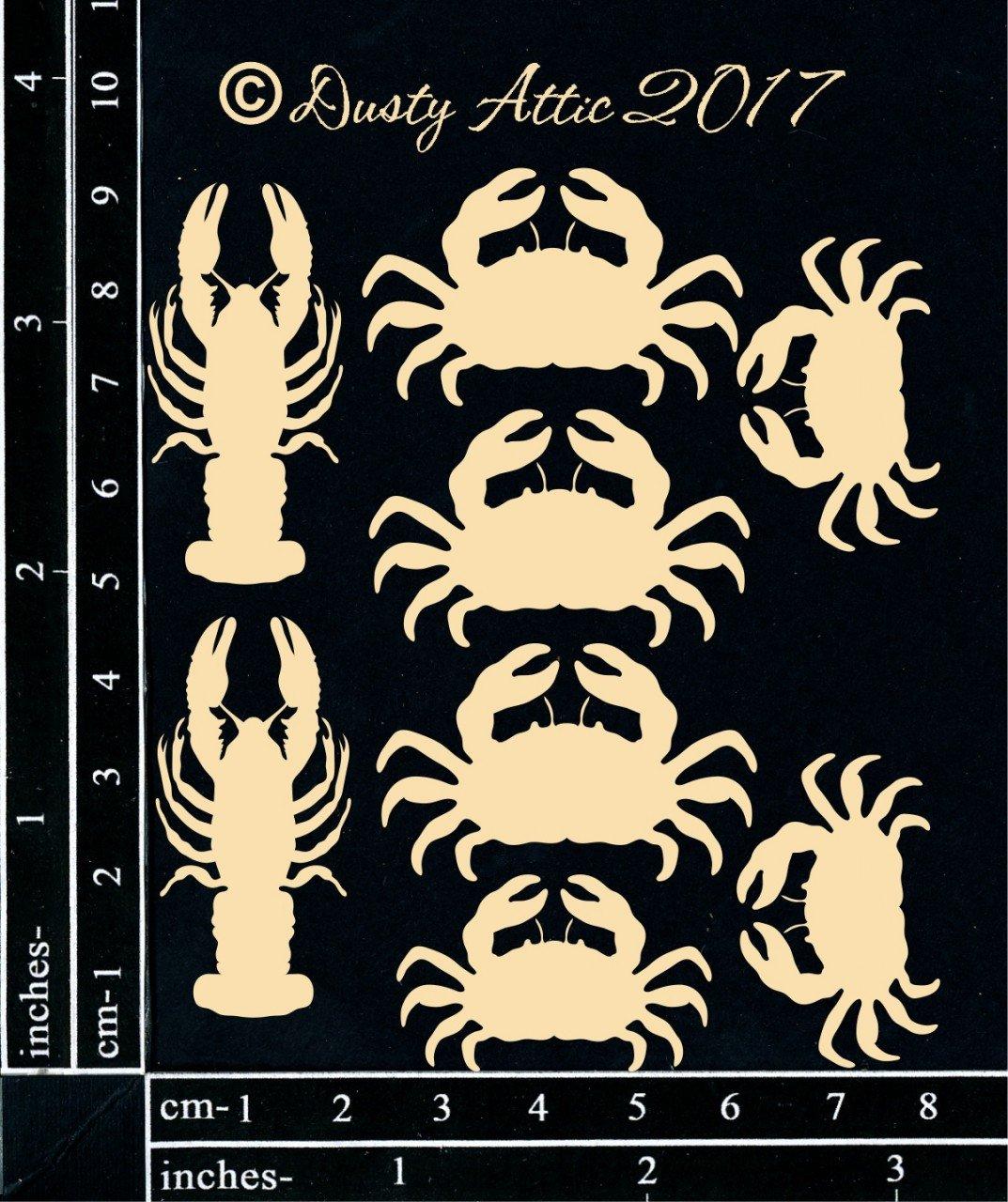 Dusty Attic Laser Cut Chipboard Mini Crabs & Lobsters