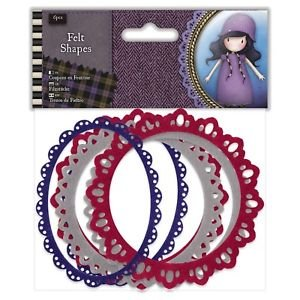 Docrafts Papermania Santoro's Gorjuss Tweed Felt Oval & Circle Frame Shapes Pk6