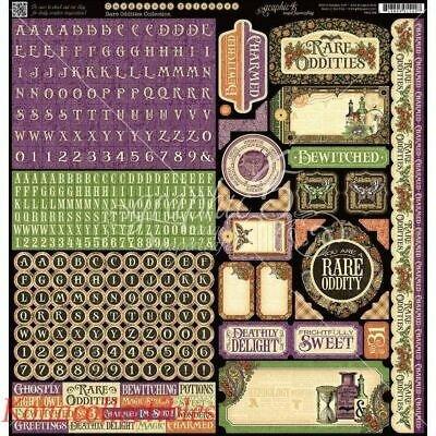 Graphic 45 RARE ODDITIES Cardstock Sticker Sheet High Quality! Halloween