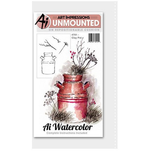 Art Impressions - Watercolor Minis Collection - Unmounted Rubber Stamp Set - Clay Pot