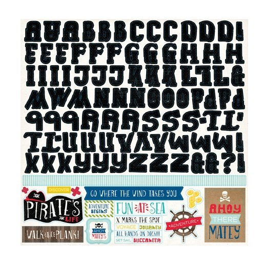 Echo Park - Pirates Life Collection - 12 x 12 Cardstock Stickers - Alphabet