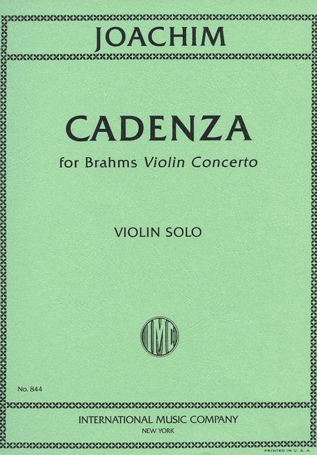 Joachim: Cadenzas For Brahms Concerto